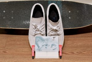 New Nike Janoski skate board shoes featuring a white TrickTape 8-pack and two tubes of Shoe Goo Minis - easy shoe repair!